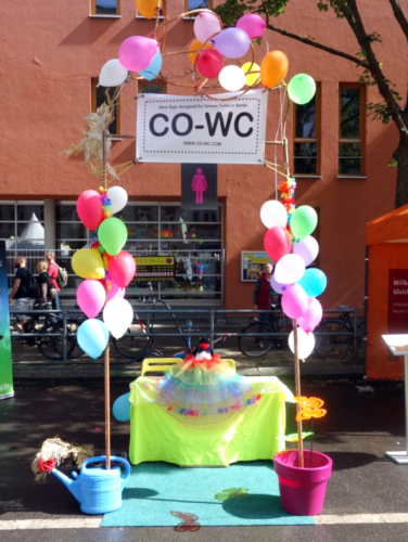 The mascot at the CO-WC information booth.