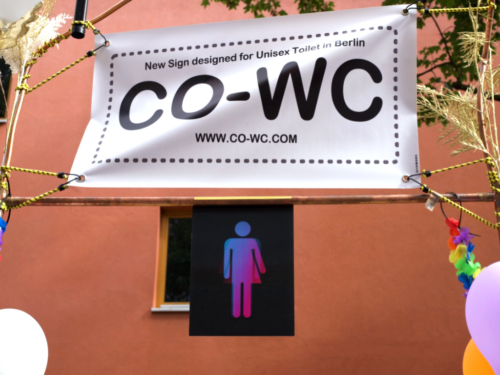 View from the front of the CO-WC poster and sign.